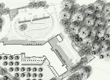 En algunos de sus planos, Hutchison emplea técnicas semi-industriales que ejercen de puente entre los trazos a ordenador y a mano alzada, como el uso de tramas autoadhesivas o sellos de goma.