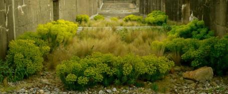 """""""Jardín del Tercer Paisaje"""" en la cubierta de la antigua base de submarinos de Saint-Nazaire (Francia)"""