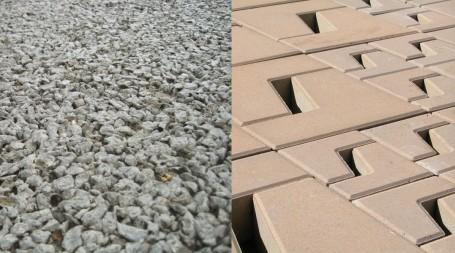 Dos tipos de superficies permeables. La primera es una mezcla bituminosa permeable, la segunda consiste en adoquines que permiten el paso del agua, diseño de Torres y Martínez-Lapeña. Fotos: EPA y Escofet, respectivamente.