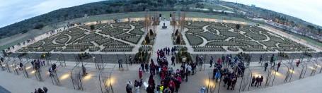 Panorámica de la primera terraza de los jardines del palacio del infante D. Luis en Boadilla.
